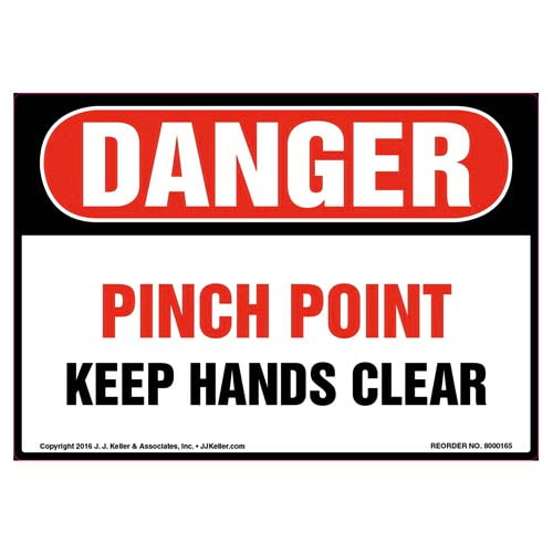 Danger: Pinch Point Keep Hands Clear Label - OSHA (09970)