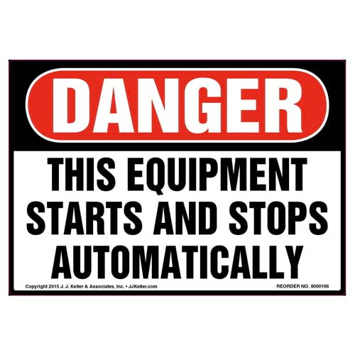 Danger: Equipment Starts & Stops Automatically Label - OSHA (09971)