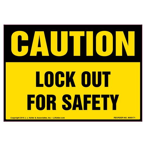 Caution: Lockout For Safety - OSHA Label (09976)