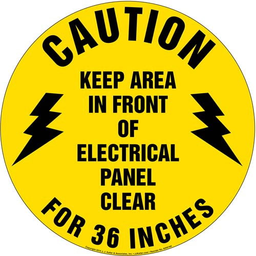 Caution Keep Area In Front Of Electrical Panel Clear Sign (09985)
