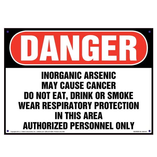 Danger: Inorganic Arsenic, Authorized Personnel Only Sign - OSHA (010004)