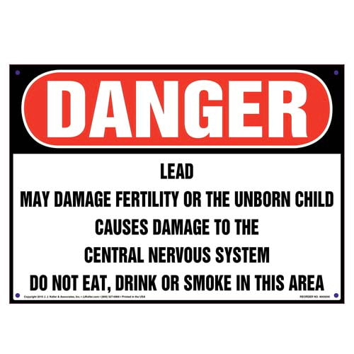 Danger: Lead, Do Not Eat, Drink or Smoke in Area Sign - OSHA (010005)
