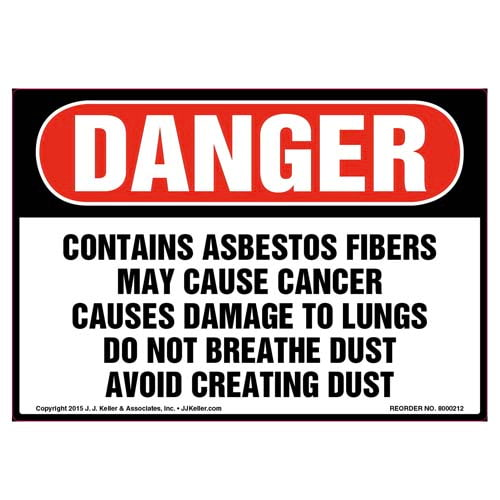 Danger: Contains Asbestos Fibers, Avoid Creating Dust Label - OSHA (010017)