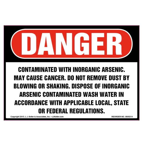 Danger: Contaminated With Inorganic Arsenic Label - OSHA (010019)