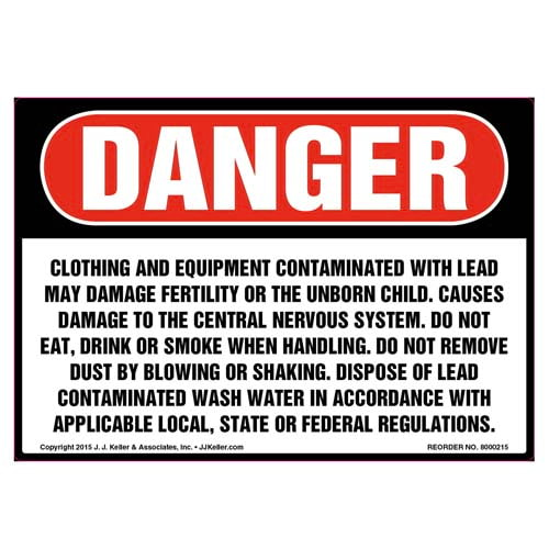 Danger: Clothing & Equipment Contaminated with Lead Label - OSHA (010020)