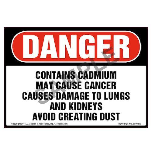 Danger: Contains Cadmium, Avoid Creating Dust Label - OSHA (010021)