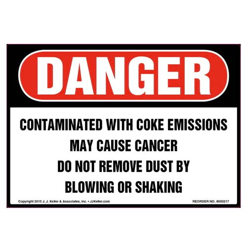 Danger: Contaminated With Coke Emissions Label - OSHA (010022)