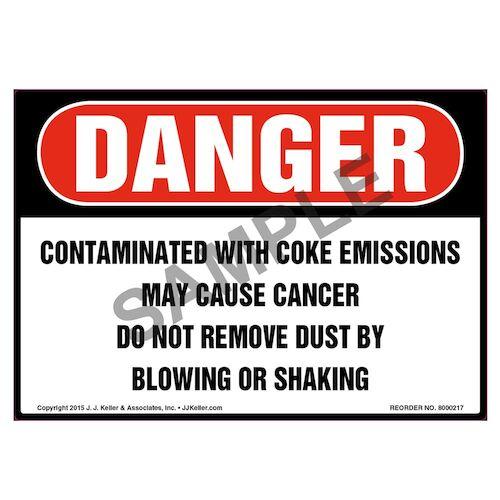 Danger: Contaminated With Coke Emissions Label - OSHA (010022)
