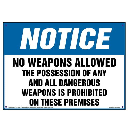 Notice: No Weapons Allowed - OSHA Sign (010031)