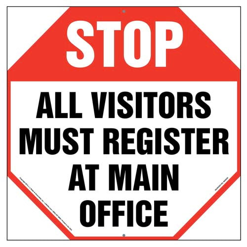 Stop: All Visitors Must Register At Main Office Sign (010035)