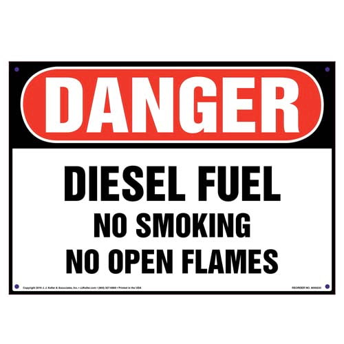 Danger: Diesel Fuel No Smoking No Open Flames Sign - OSHA (010038)