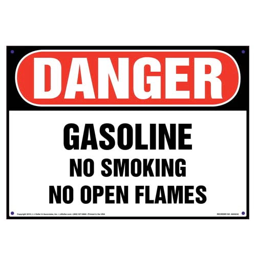 Danger: Gasoline, No Smoking/Open Flames Sign - OSHA (010039)
