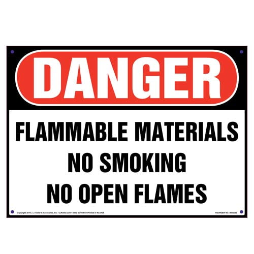 Danger: Flammable Materials, No Smoking/Open Flames Sign - OSHA (010040)