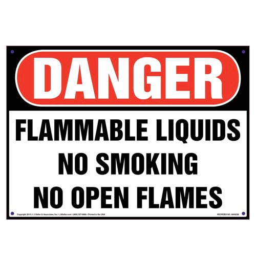 Danger: Flammable Liquids, No Smoking/Open Flames Sign - OSHA (010041)