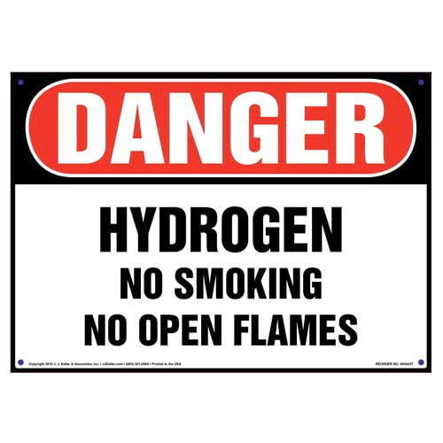 Danger: Hydrogen, No Smoking/Open Flames Sign - OSHA (010042)