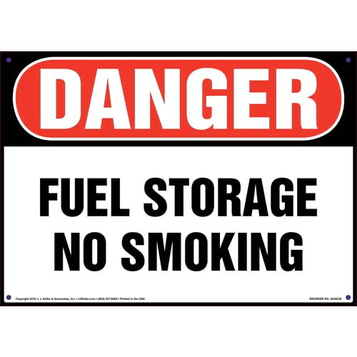 Danger: Fuel Storage, No Smoking Sign - OSHA (010043)