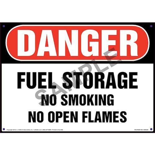 Danger: Fuel Storage, No Smoking/Open Flames Sign - OSHA (010044)