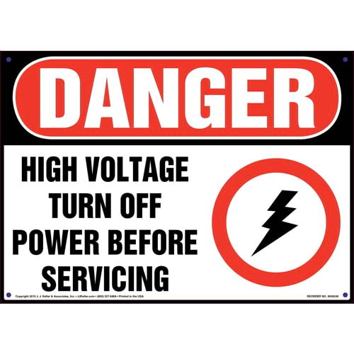 Danger: High Voltage Turn Off Power Before Servicing - OSHA Sign (010045)