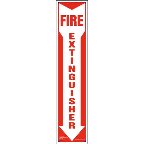 Fire Extinguisher Sign - Down Arrow, Vertical (010047)