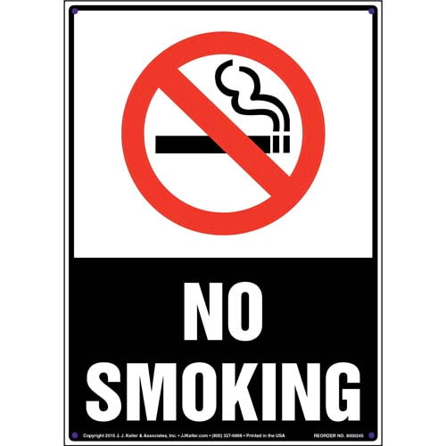 No Smoking Sign with Icon - Portrait, White Text on Black (010050)