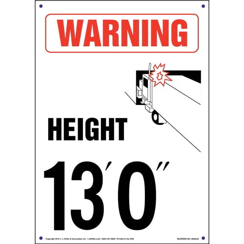 "Warning: Vehicle Height 13' 0"" Sign (010060)"