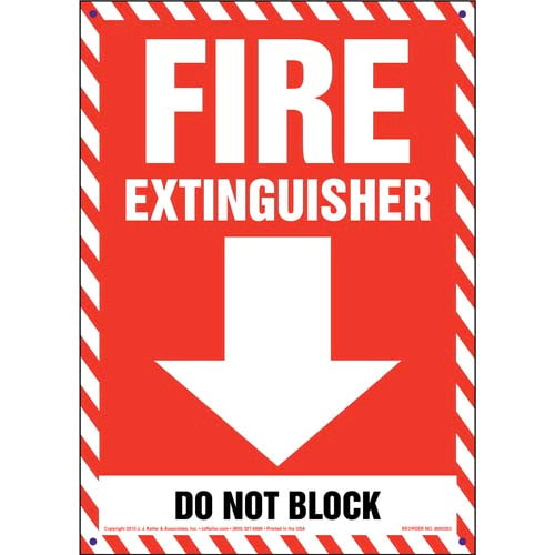 Fire Extinguisher, Do Not Block Sign (010068)