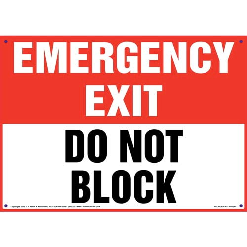 Emergency Exit: Do Not Block Sign (010069)