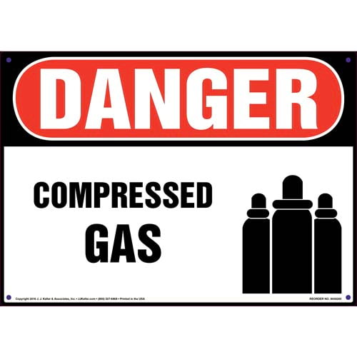 Danger: Compressed Gas Sign with Icon - OSHA (010088)