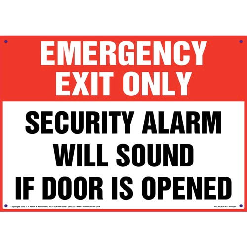 Emergency Exit Only: Alarm Will Sound Sign (010089)