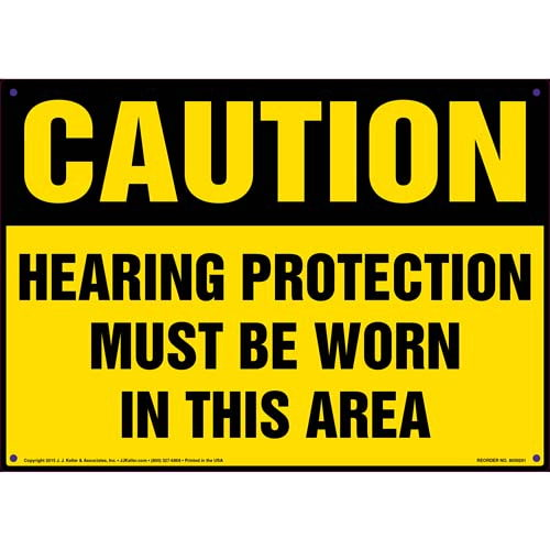 Caution: Hearing Protection Must Be Worn In This Area - OSHA Sign (010096)
