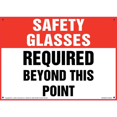 Safety Glasses: Required Beyond This Point - OSHA Sign (010097)