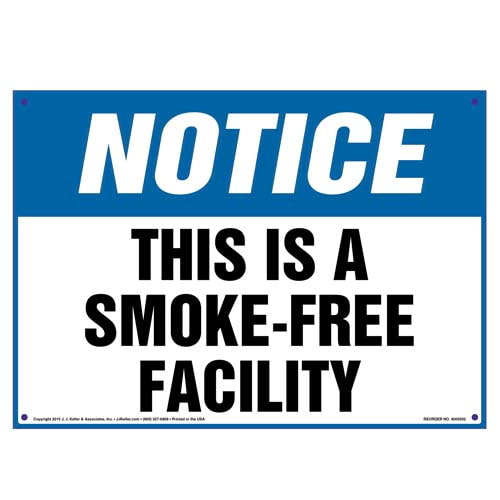 Notice: This Is A Smoke-Free Facility Sign - OSHA (010107)