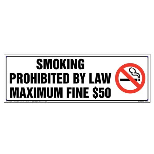 Arkansas: Smoking Prohibited By Law, Maximum Fine $50 Sign (010124)