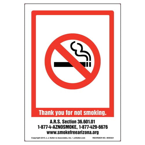 Arizona: Thank You For Not Smoking Label (010126)