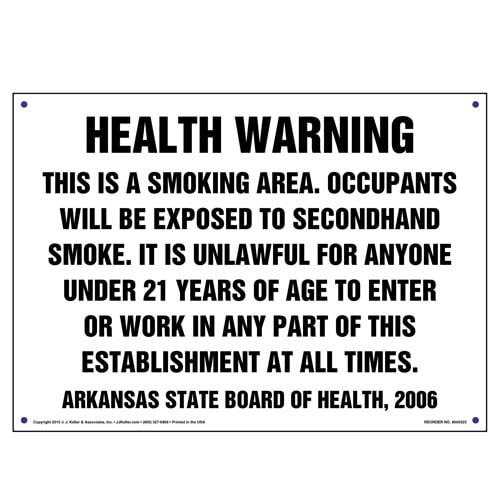 Arkansas: Health Warning, This Is A Smoking Area Sign (010128)