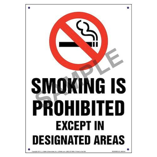 California: Smoking Is Prohibited Except In Designated Areas Sign (010129)
