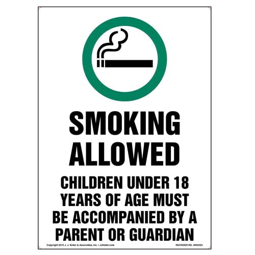 Colorado: Smoking Allowed, Children Under 18 Must Be Accompanied By Parent/Guardian Label (010130)