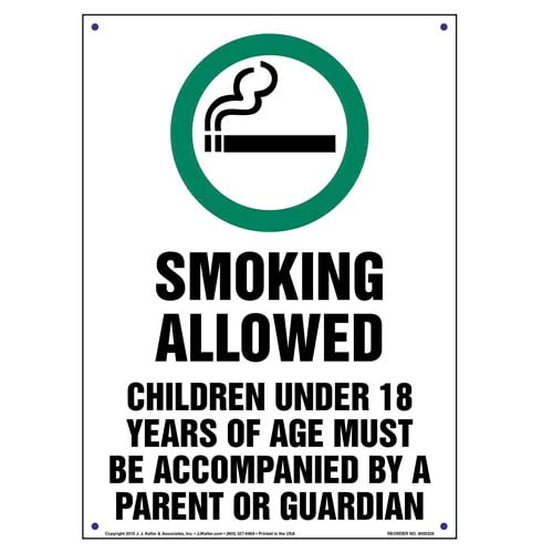 Colorado: Smoking Allowed, Children Under 18 Must Be Accompanied By Parent/Guardian Sign (010131)