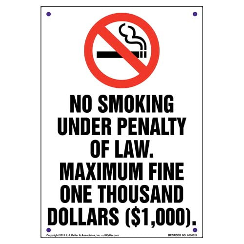 District of Columbia: No Smoking Under Penalty Of Law, Maximum Fine $1,000 Sign (010134)