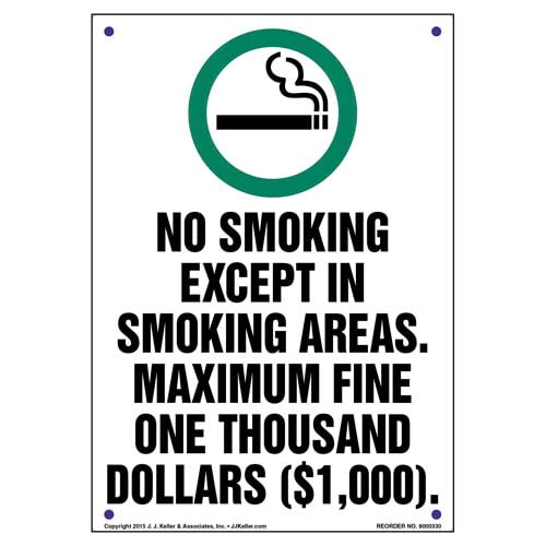 District of Columbia: No Smoking Except In Smoking Areas, Maximum Fine $1,000 Sign (010135)