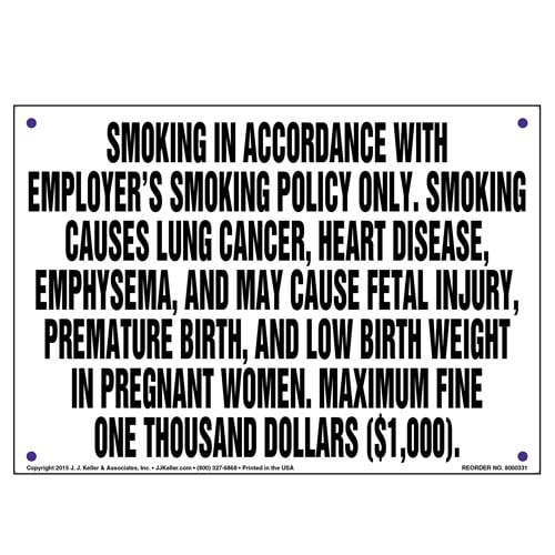 District of Columbia: Smoking In Accordance With Employer's Smoking Policy Only Sign (010136)