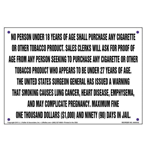 District of Columbia: No Persons Under 18 Shall Purchase Any Cigarette/Tobacco Product Sign (010137)