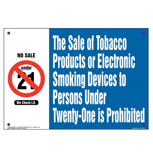 Hawaii: Sale of Tobacco Products/Electronic Smoking Devices to Persons Under 18 Is Prohibited Sign (010139)