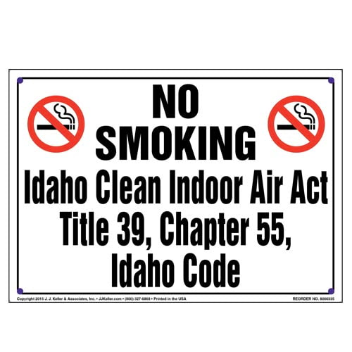 Idaho Clean Indoor Air Act: No Smoking Sign - Landscape (010140)