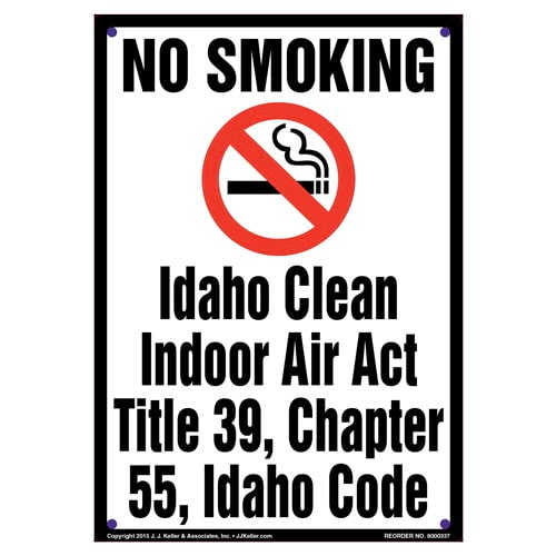 Idaho Clean Indoor Air Act: No Smoking Sign - Portrait (010142)