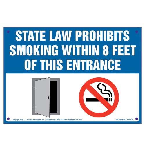 Indiana State Law Prohibits Smoking Within 8 Feet Of This Entrance Sign (010143)