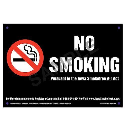 Iowa Smokefree Air Act: No Smoking Sign - White Text on Black (010144)