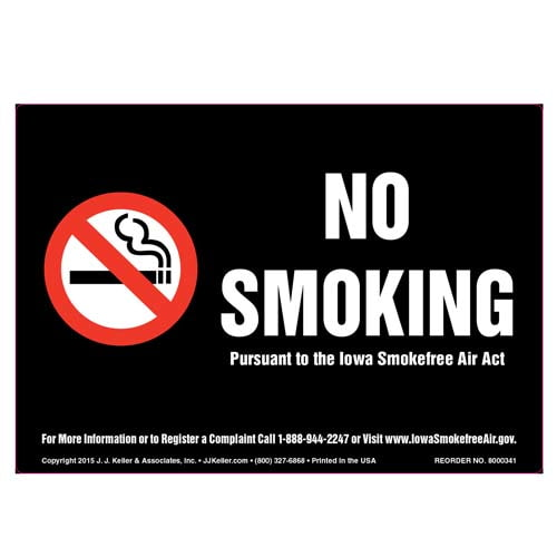 Iowa Smokefree Air Act: No Smoking Label - White Text on Black (010146)