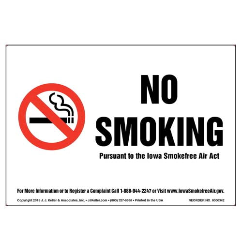 Iowa Smokefree Air Act: No Smoking Label - Black Text on White (010147)