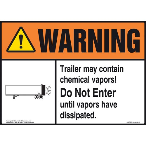 Warning: Trailer May Contain Chemical Vapors Sign - ANSI (011487)